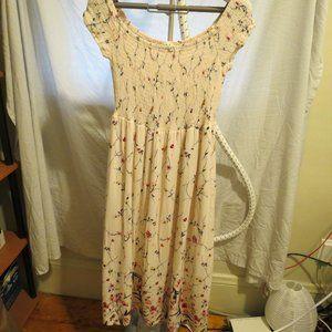 Floral Shirred Off the Shoulder Midi Dress
